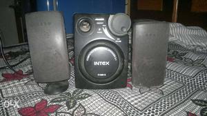 Grey And Black Intex Computer Speakers