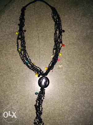 Black Multi Color Beaded Necklace