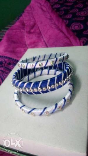 Blue And White Bangle Bracelets