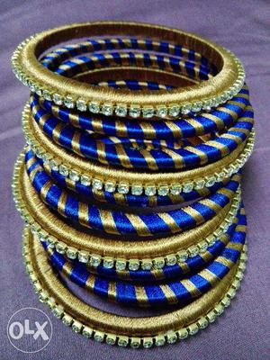 Blue and Gold colored silk thread bangle