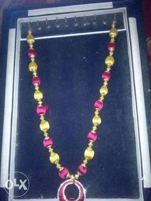 Pink And Yellow Beaded Necklace