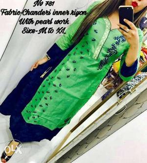 Women's Green And Black Fabric-chanderi Inner Riyon With