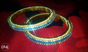 Yellow And Blue Satin Thread Bangle Bracelets