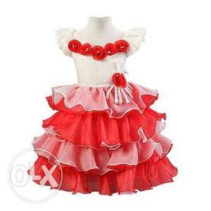 Baby Fashion Party Dress in Red and White Flowers