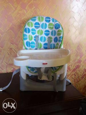Baby's White Blue And Green Fisher Price Booster Floor Seat