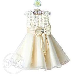 Classy Princess Birthday Party Dress in Cream