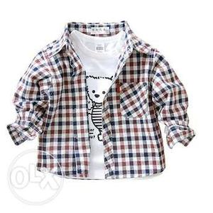 Kids Boys Plaid Party Wear Shirts in Long Sleeve