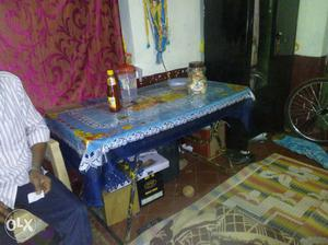 Blue White And Yellow Floral Table