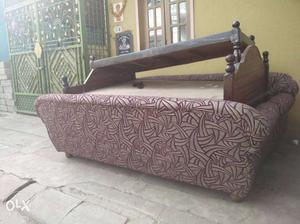 Brown Wooden Bed Framed Maroon And Grey Fabric Daybed