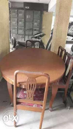 Brown Wooden Round Table Set
