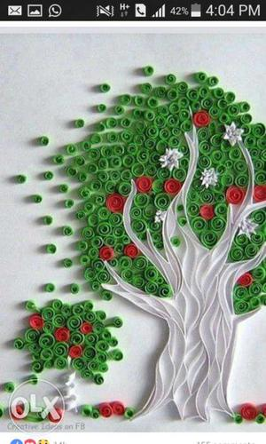 Green Red And White Tree Wall Art