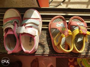 4 pair of baby shoes. suitable for 1 to 2 yrs.