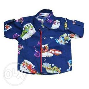 Baby Boys Printed Cotton Wear Shirt in Blue