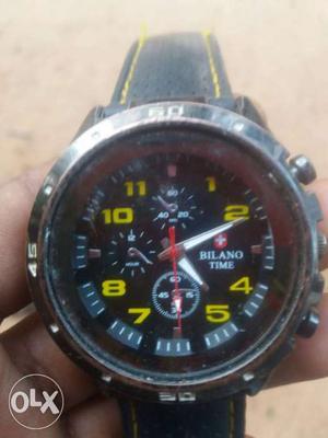 Black And Yellow Bilano Time Chronograph Watch