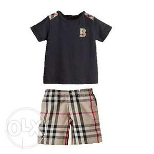 Classic Kids Plaid Shirt & Short Boys Casual Wear Clothing