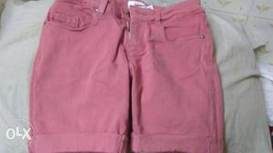 Pink denim shorts...used only once.. suitable for