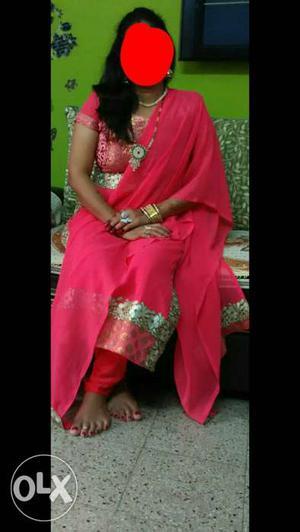 Women's Pink And Brown Floral Salwar Kameez