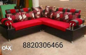 Brand new steel handles L sofa with 5 years of