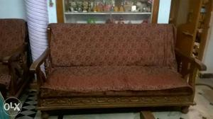 Brown Wooden sofa set of 2armchairs and 1 big sofa(teak).