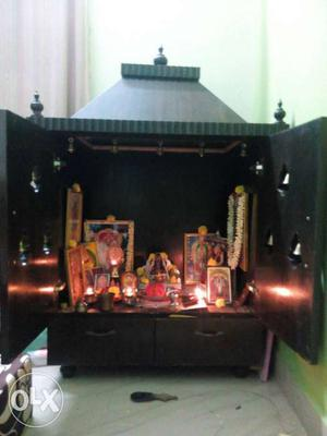 Custom made wooden Pooja cabinet for sale. solid