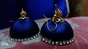 2 Blue Round With Diamonds Hook Earrings