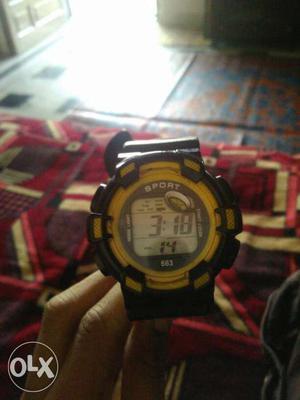 Black And Yellow Sport Digital Watch