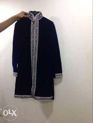 Blue velvet sherwani with salwar