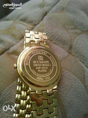 Swiss (Accurate) 22k Gold Plated Watch