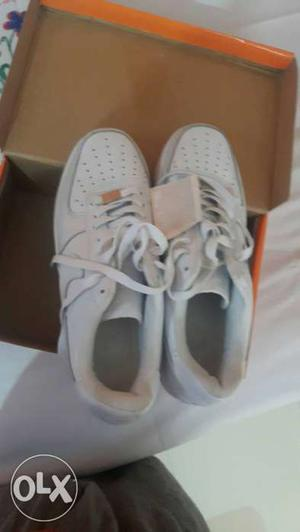 White Nike Low Top Sneakers With Box