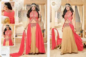 Women's Red And Brown Salwar Kameez