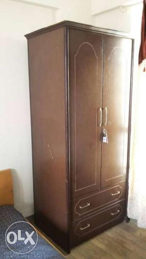 2 door wardrobe in chocolate brown colour along