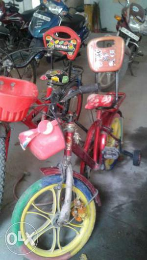 Toddler's Red Bicycle With Training Wheels