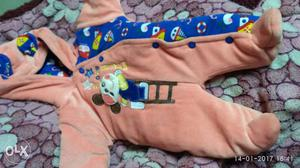 Baby's Brown And Blue Footies (packer)0-6 month baby