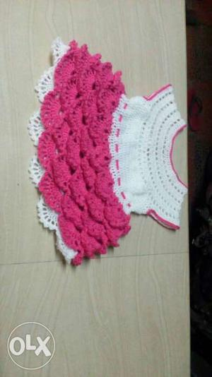 Baby's White And Pink Crochet Scoop Neck Sleeveless Flare