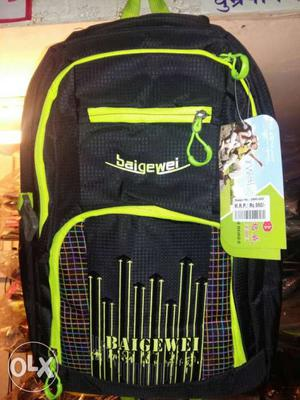 Black And Yellow Baigewei Backpack