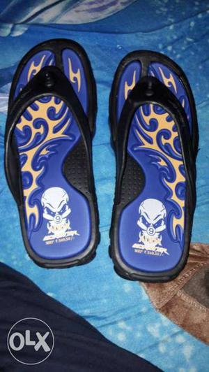 Blue Black And Yellow Flip Flops