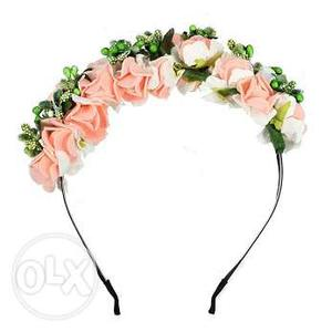 Peach and White Flower Headband for Little Princess