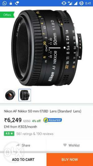 Nikon 50mm f/1.8d prime lens... note note: new
