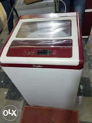 White And Red Whirlpool 123 nxt 6.5 kg Top Load Washing
