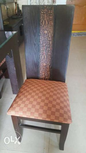 Brown Wooden High Back Padded Chair