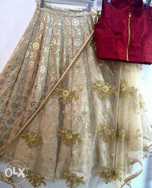 Blouse- banglori silk, inner satin, lehenga-