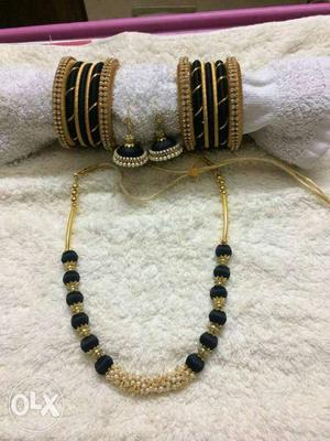 Gold And Onyx Beaded Necklace; Bracelet; And Earrings Set