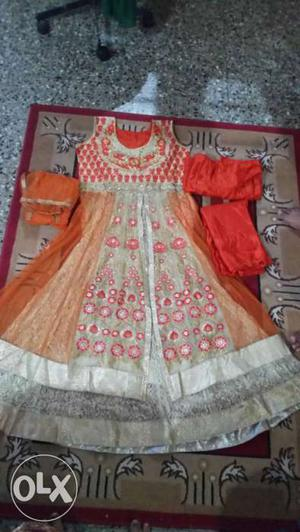 Mastani dress for sell, Orange And White Sleeveless Floral