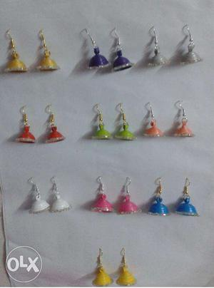 Paper Quilled Ear Jhumkas (With glitters) - 10 pairs