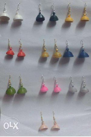 Paper Quilled Jhumkas (Plain) - 10 pairs