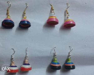 Paper quilled ear jhumkas (multicolor) - 4 pairs