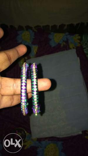 Two Purple, Green And Diamond Beaded Bangle Bracelets