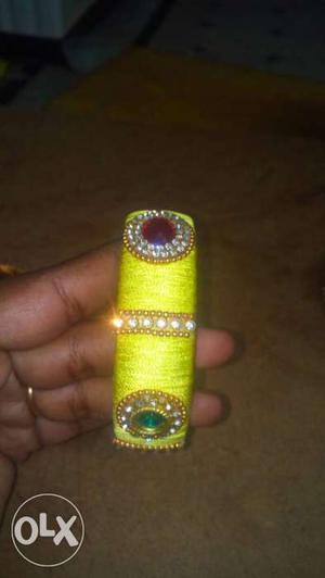 Yellow Diamond And Teal Beaded Bangle