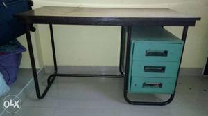 Black And Teal Single Pedestal Desk