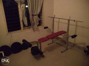 50 kg combo bench press with barbell and dumbell bars.